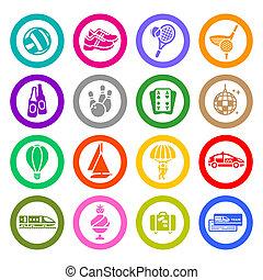 set, &, icone, viaggio vacanza, ricreazione