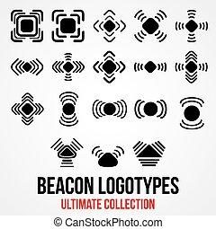 set, icons., bluetooth, segnale, vettore, nero, gps