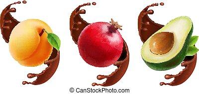 set, illustration., frutta, cioccolato, realistico, schizzo, 3d, icona