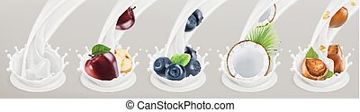 set, illustration., frutta, yogurt., 3d, realistico, vettore, 5, bacche, icona