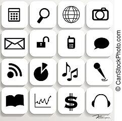 set, illustration., icone, 6., domanda, vettore, disegno