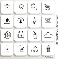 set, illustration., icone, domanda, vettore, disegno, 1.