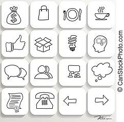 set, illustration., icone, domanda, vettore, disegno, 2.