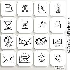 set, illustration., icone, domanda, vettore, disegno, 3.