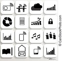 set, illustration., icone, domanda, vettore, disegno, 5.