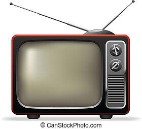 set, illustration., tv, realistico, vettore, retro
