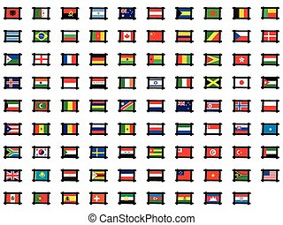 set, -, illustrato, bandiere, cornici, mondo