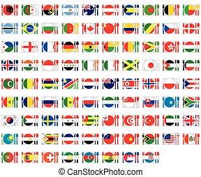 set, -, illustrato, bandiere, cuttlery, mondo