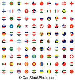 set, -, illustrato, bandiere, mondo, rotondo