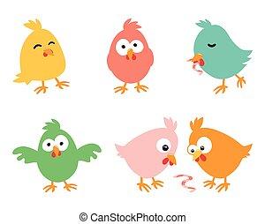 set, illustrazione, fondo, pasqua, polli, divertire, bianco