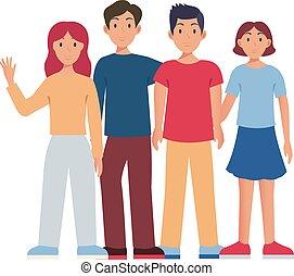set, illustrazione, gruppo, isolato, persone