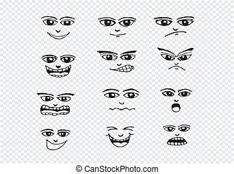 set, illustrazione, mano, facce, cartone animato, disegno