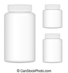 set, illustrazione, plastica, imballaggio, vettore, bottiglia, vuoto, bianco, 2., design.