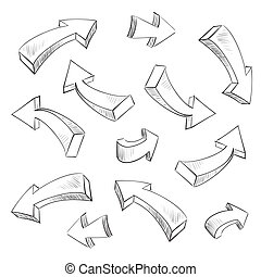 set, illustrazione, sketchy, vettore, disegno, freccia, elementi, 3d