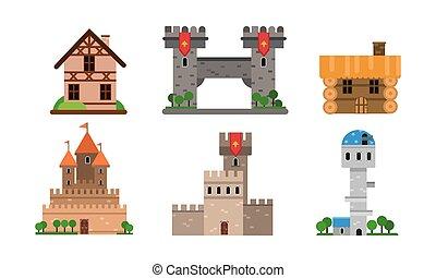 set, illustrazione, vettore, buldings, tipi, differente, case, appartamento