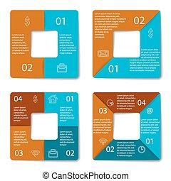 set, infographic, quadrato