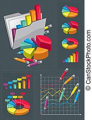 set, infographic, -, tabelle, colorito