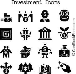 set, investimento, affari, icona