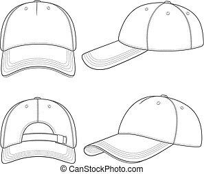 set, isolato, cap., vettore, nero, illustrazioni, baseball, bianco, objects.