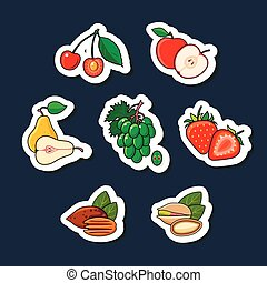 set, isolato, frutte