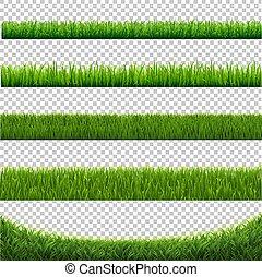 set, isolato, sfondo verde, bianco, erba, bordo