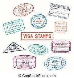 set, isolato, timbri gomma, visto, passaporto