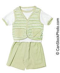 set, isolato, verde, bambino, bianco, vestiti