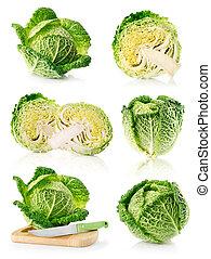 set, isolato, verde, frutte, fresco, cavolo, bianco