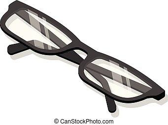 set, isometrico, occhiali, stile, icona