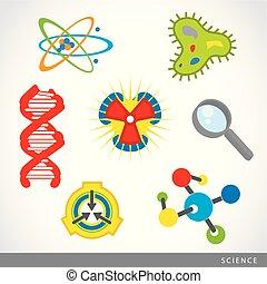 set, laboratorio scienza, vettore, roba, cartone animato, icona