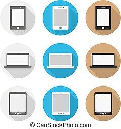 set, laptop, smartphone, disegno, icone, appartamento, tavoletta