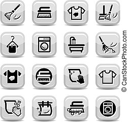 set, lavaggio, pulizia, icone