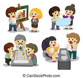 set, lavoratore, cartone animato, ufficio, icona