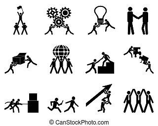 set, lavoro squadra, icone
