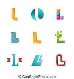 set, lettera, icone, l, elementi, disegno, sagoma, logotipo