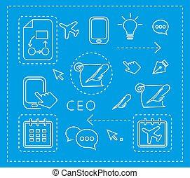 set, lineare, icone
