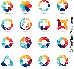 set., logotipo, symbols., cerchio, segni