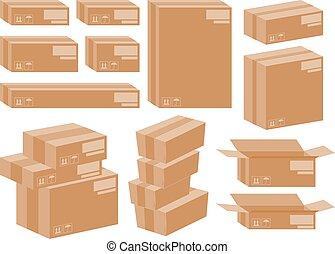 set, mandare, isometrico, scatole