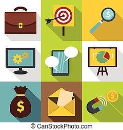 set, marketing, stile, icone, appartamento