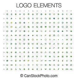 set, mega, affari, astratto, collezione, logotipo, geometrico, icona