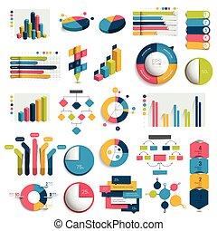 set, mega, affari, tabelle, 3d, grafici, mascherine, infographics., disegno, cubi, cerchio, colummn, schemes., design.