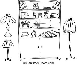 set, mensola, -, elementi, lampade, disegno