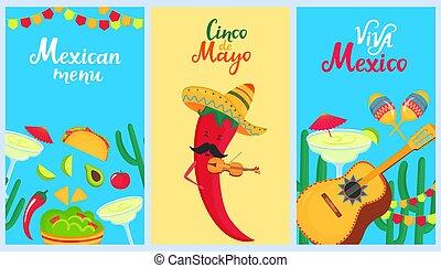 set, messicano, sombrero, nazionale, may., drink., holiday., divertente, giochi, 5, violin., vacanza, cactus, mayo., pepe, cibo, de, cinco, maracas, manifesti, peperoncino, guitarron, tradizionale