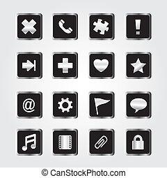 set, metallo, icona