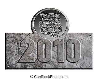 set, metallo, isolato, tiger, fondo, anno, nuovo, bianco, 2010