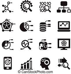 set, minerario, database, icone, analisi, dati