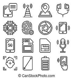 set, mobile, icone, specificazione, bianco, telefono, fondo., vettore