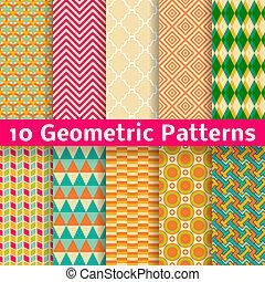 set, modelli, seamless, fondo., vettore, (tiling)., geometrico