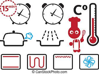 set, modi, regolazioni, icone, forno, segni
