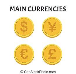 set, monete, isolato, simboli, valute, fondo, bianco, principale